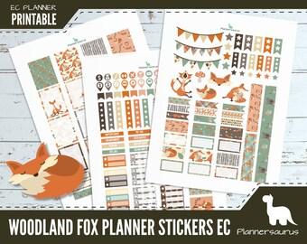 Woodland fox printable planner stickers   woodland creature planner    EC vertical planner printables   digital weekly planner   cute fox