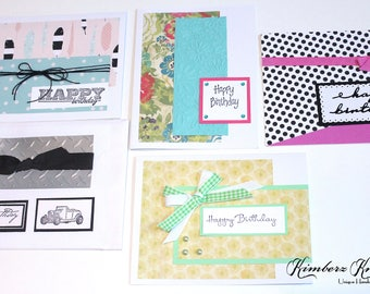 Handmade BIRTHDAY GREETING CARDS Set of 5 New Stampin Up