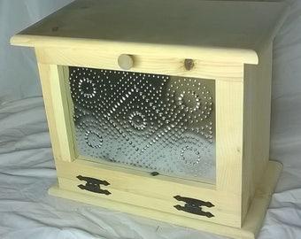 Handmade, Unfinished Wood Bread Box -Large