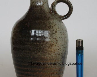 Rare danish studio pottery handled vase by Villy Tusholm