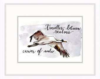 5 x 7 Crane watercolor print, grief and loss support, miscarriage or child loss | 5 x 7 in. postcard (10.1 x 15.24 cm)