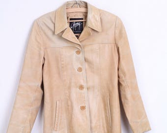 Gipsy by Mauritius Womens L Vintage Leather Jacket Camel Blazer