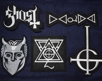 SALE SET Ghost bc Patches Papa Emeritus Patch Nameless Ghoul Grucifix Ghost Band Symbol Satan Satanic Jacket Sew-On Applique Vest Jacket Sew
