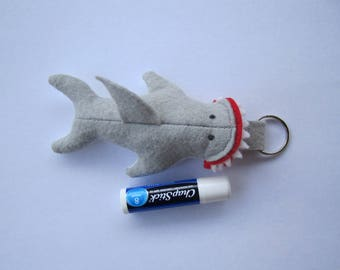 Felt Shark Chapstick Holder Keychain