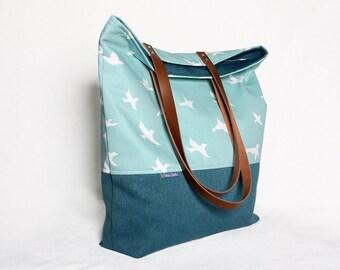Canvas tote bag - migratory birds, shoulder bag - bird, canvas tote bag - mint, handbag, shoulder bag, crossbody bag, Teal leather bag