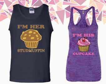 I'm Her Studmiffin I'm His Cupcake Tank Cupcake Stufmuffin Tank Top Couple Tanks Couple Tank Tops Couple Tops And Tees Gift For Couple