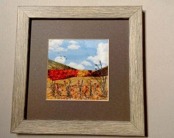 Unique embroidered landscape picture , framed, gift, fabric art, autumn, handmade, machine embroidery, countyside, Wedding gift