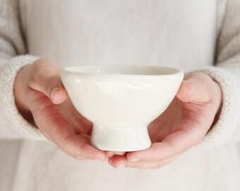 White Footed Bowl | SECOND | Handmade ceramic dish, Pottery, Simple servingware, Stoneware, Tableware, Dinnerware, Modern hostess gift