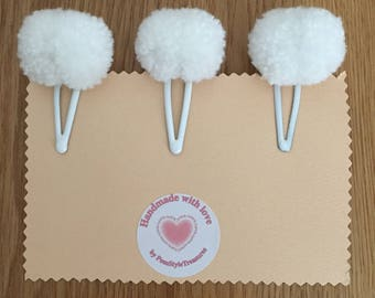 Set Of 3 Cute Handmade Pom Pom Hair clips. Look Great Matched With School Uniforms