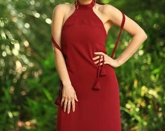 Stella Dress - red halter maxi-dress