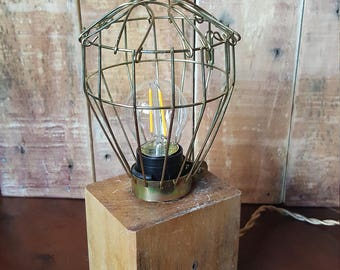 Hardwood Caged LED Steampunk Desk Lamp / Light