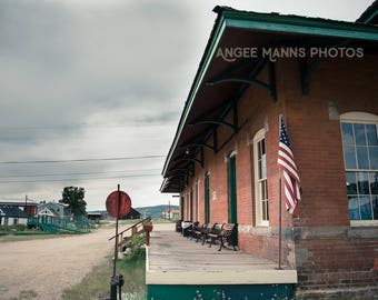 Architecture Photography, Train Station, Leadville,Colorado, American Flag