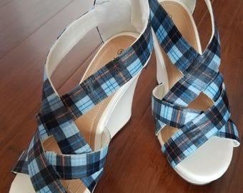 Blue Plaid Wedge Heels