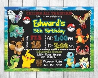 Pokemon Invitation, Pokemon Birthday Invitation, Pokemon Birthday Party, Pokemon Thank You Card, Personalized, Digital File