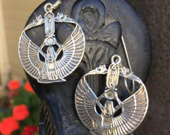 Sterling Silver earrings featuring Isis - Egyptian Goddess