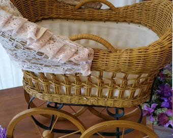 Wicker Doll Baby Carriage