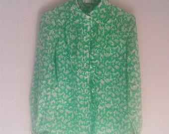 Butterfly Print Button Up Green on white Size small