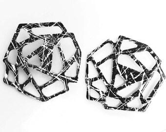 Black & White Splatter Acrylic Geo Earrings