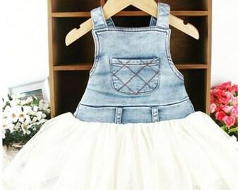 Blue and white denim dress