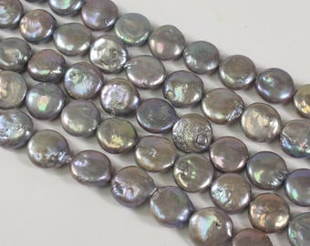11 to 12 mm Mauve Gray Coin Freshwater Pearl Beads, Flat Coin Freshwater Pearl Beads, Coin Pearl Beads,Dark Gray Coin Pearl (92-CGY1112)