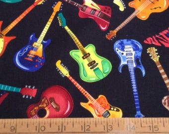 Colorful guitars cotton fabric by the yard