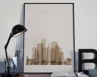 Miami Art Miami Watercolor Miami Multicolor Miami Wall Art Miami Wall Decor Miami Home Decor Miami Skyline Miami Print Miami Poster Unframed