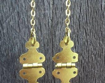 Gold Steampunk Hinge Earrings