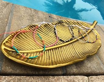 Seed Bead Bracelet, Wax String Bracelet, Friendship Bracelet, Beaded Bracelet, Adjustable Bracelet
