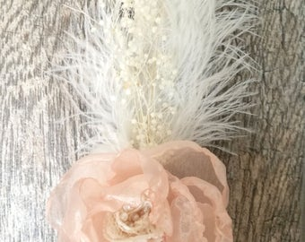 Wedding Hair Clip Blush Peony made of Organza and Beaded Lace