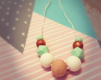 Silicone Teething Necklace: Mint & Copper