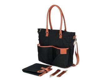 Nappy Bag / Diaper Bag: Black & Tan Trim- Tote Bag