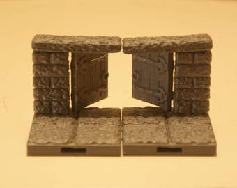3D Dungeon Tiles - Double Door Way w/Swinging Doors