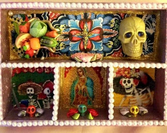Large Shadowbox with Guadalupe in Red