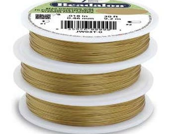 Beadalon Cord Craft Wire Satin Gold Satin Silver 7 Strand .015 diameter 30 Foot Stainless Steel Bead Stringing Jewelry Wire /.015 aka 0.38mm