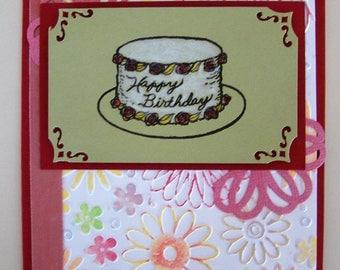 Birthday card with flowers, ribbon, birthday cake // birthday card for her // flower birthday card // birthday cake card // happy birthday