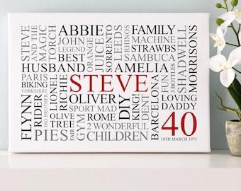 Personalised 40th Birthday Word Art