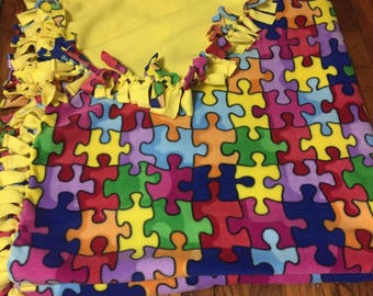Kid's size Autism Awareness fleece tie blanket