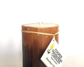 "4"" Tall Clove Scented Round Pillar Candle - Ivory, Brown, Black - Ombre"