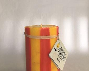 "4"" Tall Mango Scented Round Pillar Candle - Orange, Yellow"