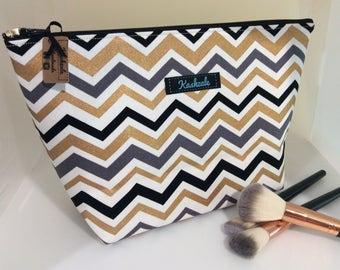Large Deep Cosmetic Bag, Make up Bag, Toiletry Bag, Travel Bag, Large Makeup Bag, Made in Australia, Black, Gold, Grey and White Chevron.