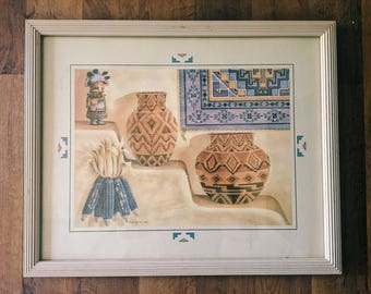 Vintage Native American Pottery Art  Print, Wolf M Otto, Framed Wall Art  // SALE