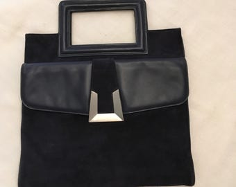 Deep Navy Suede Bag