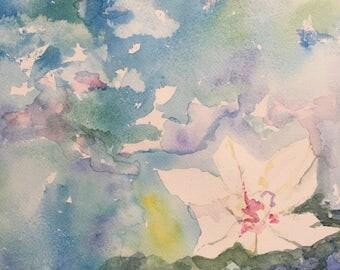 Lotus pond - original watercolor painting