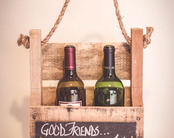 Reclaimed Pallet 2 Bottle Wine Carrier - Chalkboard