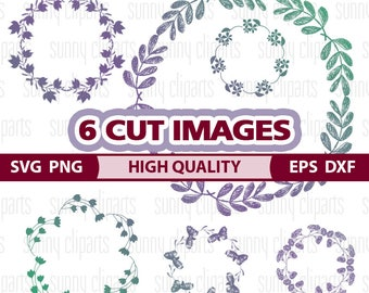 Floral Wreath Svg, Floral Wreath Clip Art, Floral Wreath Png, Wreath Vector, Wreath Monogram, Wreath Decal, Monogram Decal Svg, Svg Cuts