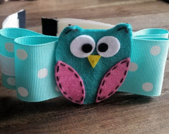 Bow N Owl on White Headband