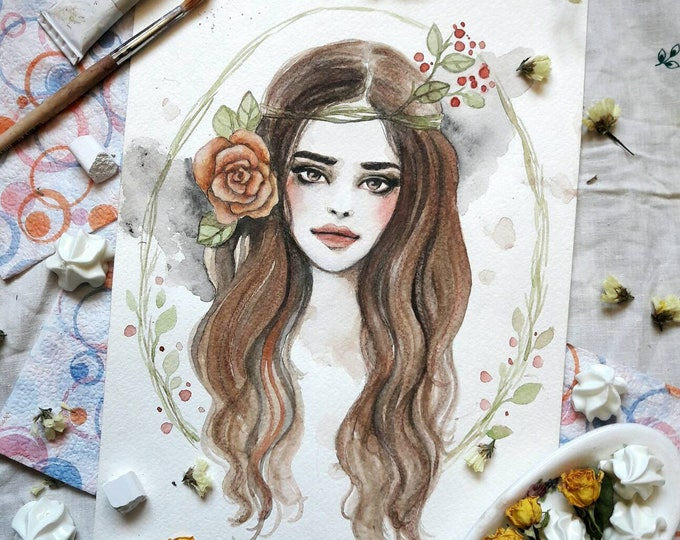 Girl painting ORIGINAL watercolor art by Tatiana Boiko, wall art, wall hanging, wall decor, floral, forest, Russian art, gift, decor,