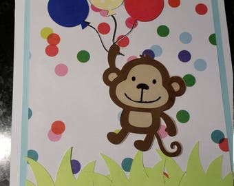 Monkey Birthday Card Handmade (Customizable)