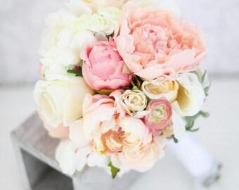 Silk Bride Bouquet Peony Flowers Pink Peach Cream Spring Mix Shabby Chic Wedding Decor