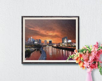 Evening in the City Printable Art, Cityscape Print, Unique Artwork, Modern Home Decor, Wall Art Prints, Digital Painting, Instant Download